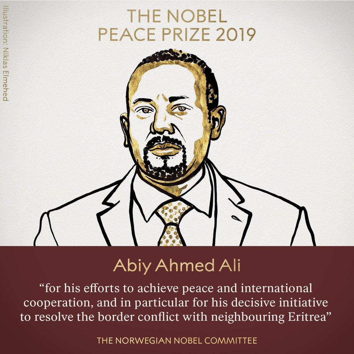 """<p>  <strong>海外网10月11日电 </strong>当地时间10月11日,挪威诺贝尔委员会宣布将2019年诺贝尔和平奖授予埃塞俄比亚总理阿比·艾哈迈德·阿里(Ethiopian Prime Minister Abiy Ahmed Ali)。</p><p>  阿比·艾哈迈德·阿里今年42岁,获得埃塞俄比亚、南非、英国和美国等多所大学学位。2010年起先后担任奥罗莫人民民主组织中央委员、埃塞俄比亚人民代表院议员、科技信息中心主任、科技部部长、奥罗米亚州城市发展与规划局局长、奥罗莫人民民主组织书记处书记等职务。2018年2月当选奥罗莫人民民主组织主席,3月当选执政党埃塞俄比亚人民革命民主阵线主席,4月就任联邦政府总理。</p><p>  根据诺贝尔奖官方网站介绍,诺贝尔和平奖创立于1901年,是根据瑞典著名化学家阿尔弗雷德 伯恩哈德 诺贝尔的遗嘱而设立的,旨在奖励""""为促进民族团结友好、取消或裁减常备军队以及为举行和平会议尽到最大努力或作出最大贡献的人""""。</p><p>  与其他几项诺贝尔奖不同,和平奖的颁发地点不在瑞典首都斯德哥尔摩,而是在挪威首都奥斯陆。获奖者既可以是个人,也可以是机构。获奖者将获得证书、金质奖章和奖金支票。奖章正面是诺贝尔的头像,背面刻有铭文,意为""""为了人类的和平与情谊""""。</p><p>  据诺奖官网介绍,诺贝尔和平奖至今已颁发100次。截至2018年,最年轻的获奖者为时年17岁的巴基斯坦少女马拉拉·优素福·扎伊,最年长者为时年87岁的英国著名原子物理学家、反核人士约瑟夫·罗特布拉特。共有17名女性曾获奖。</p><p>  以下为近几年的诺贝尔和平奖获得者:</p><p>  2018年,授予刚果(金)妇科医生德尼·穆奎格和伊拉克人权活动人士纳迪娅·穆拉德,以表彰他们为反对在战争和武装冲突中使用性暴力而做出的努力。</p><p>  2017年,授予国际非政府组织""""国际废除核武器运动"""",以表彰该组织致力于普及核武器给人类带来巨大灾难的相关知识以及争取彻底消除核武器的努力。</p><p>  2016年的获得者为哥伦比亚总统桑托斯。获奖理由是,他持久的努力结束了该国超过50年之久的内战。</p><p>  2019年诺贝尔奖从10月7日起陆续揭晓。7日当天公布了生理学或医学奖获得者——美国医学家威廉·凯林、格雷格·塞门扎以及英国医学家彼得·拉特克利夫,他们凭借革命性地发现让人们理解了细胞在分子水平上感受氧气的基本原理而获奖。</p><p>  8日,2019年诺贝尔物理学奖则颁发给了美国科学家詹姆斯·皮布尔斯,以及两位瑞士科学家米歇尔·马约尔和迪迪埃·奎洛兹,以表彰他们在天体物理领域所作出的杰出贡献。</p><p>  9日,2019年诺贝尔化学奖揭晓,美国科学家约翰·古迪纳夫、英裔美国科学家斯坦利·惠廷厄姆与日本科学家吉野彰共同获得此奖,以表彰他们在锂离子电池领域作出的突出贡献。</p><p>  10日,瑞典文学院宣布将2018年和2019年诺贝尔文学奖分别授予波兰女作家奥尔加·托卡尔丘克和奥地利作家彼得·汉德克,获奖理由为:托卡尔丘克""""充满激情的叙事想象力代表了一种跨越边界的生活形式"""",而汉德克用其""""富有语言学才能的、有影响力的著作探索了人类经验的外围及特异性""""。</p><p>  另据诺奖官网消息,14日将公布诺贝尔经济学奖获得者。(海外网 吴倩 王珊宁 李萌)</p>"""